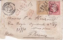 GUINGAMP Lettre Pour Florence Affranchie Par Un10c Empire (variété) Et Un 80 Centimes Obl Gc 1474 Chargée - 1849-1876: Classic Period