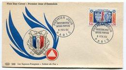 RC 10765 FRANCE FDC ENVELOPPE 1er JOUR SAPEURS POMPIERS PROTECTION CIVILE 1964 - 1960-1969