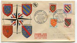 RC 10768 FRANCE FDC ENVELOPPE 1er JOUR BLASONS 1954 - FDC