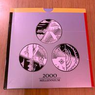 """M/PS7 BELGIQUE Série Flan Bruni 3 X 200 Fr. (FR+FL+ALLEMAND) 2000 """"Le Millénaire"""" *QP* En ARGENT - 1993-...: Albert II"""