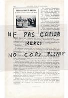 Page D'annuaire Année 1925 Vins CHATEAU HAUT BRION André GIBERT à PESSAC  Capsules Métalliques Meynieu Imberti BORDEAUX - France