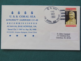 USA 1990 Cover From Ship USS Coral Sea To Columbus - Bicentennial Court John Marshall - United States