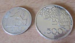 Belgique - 2 Monnaies Argent 50 Francs 1948 Et 500 Francs 1980 (150 Ans Indépendance Belgique) - Belgique