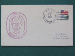 USA 1991 Cover From Ship USS Cushing In Mission In Desert Storm To Texas - Flag - United States