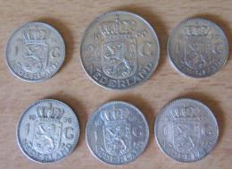 Pays-Bas / Nederland - Lot De 6 Monnaies En Argent 1 Gulden X 5 Et 2 1/2 Gulden - 1954 à 1965 - [10] Collections