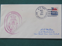 USA 1994 Cover From Ship USS Cushing In Mission In Desert Storm To Texas - Flag - Lion - United States