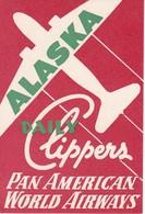 ANTIGUA ETIQUETA DE LA COMPAÑIA AEREA PAN AMERICAN (AVION-PLANE) ALASKA - Etiquetas De Equipaje
