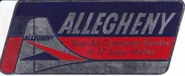 ANTIGUA ETIQUETA DE LA COMPAÑIA AEREA ALLEGHENY (AVION-PLANE) - Etiquetas De Equipaje