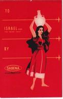 ANTIGUA ETIQUETA DE LA COMPAÑIA AEREA SABENA (AVION-PLANE) ISRAEL - Etiquetas De Equipaje