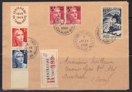 Enveloppe Recommandée Pour Sarrebruck (Allemagne), 1949. - Marcophilie (Lettres)