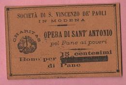 Modena Buono Da 15 Centesimi Di Pane Opera Sant' Antonio San Vincenzo De Paoli Wohltätiges Gut Bienfaisance - Altri