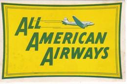 ANTIGUA ETIQUETA DE LA COMPAÑIA AEREA ALL AMERICAN AIRWAYS (AVION-PLANE) - Etiquetas De Equipaje