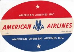 ANTIGUA ETIQUETA DE LA COMPAÑIA AEREA AMERICAN AIRLINES (AVION-PLANE) - Étiquettes à Bagages