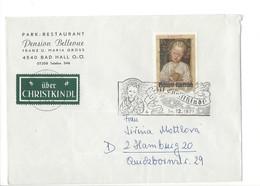 21196 - Christkindl 1971 Lettre Publicité Pension Bellevue Bad Hall Pour Hamburg 14.12.1971 - Noël