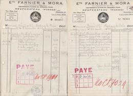Petite Facture Lot De 2 / Citroen P45 Et 2 CV / Farnier & Mora / 88 Neufchâteau Vosges - Cars