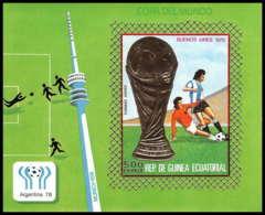 148 Guinée équatoriale Guinea Bloc N°265 Non Dentelé Imperforate OR Gold Stamps Football Soccer Argentina 78 78 (soccer) - World Cup