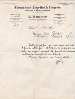 Facture 1927 / L. ROUFF / Trousseaux Layettes / Paris Nice Cannes Vittel Plombières Vichy Biarritz... - France