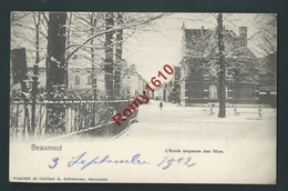BEAUMONT.  Ecole Moyenne Des Filles, Sous La Neige. 1902. 2 Scans. - Beaumont