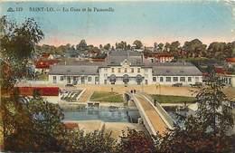 - Manche -ref-B318- Saint Lô - St Lô - Gare Et Passerelle - Gares - Ligne De Chemin E Fer - Carte Colorisee - - Saint Lo
