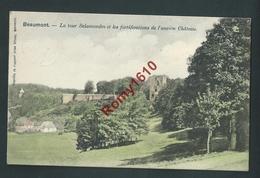 BEAUMONT.  Tour Salamandre Et Fortifications De L'ancien  Château.  1901. Edit. Grimar En Couleur. 2 Scans. - Beaumont