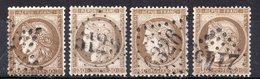 Cérès N° 56 X4 (Variété) Avec Oblitération D'Epoque  TB - 1871-1875 Ceres