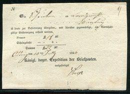 Bayern / 1840 / Postschein Hs. Oetting (1/880) - Deutschland