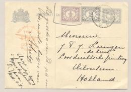 Nederlands Indië - 1932 - 5 Cent Cijfer, Briefkaart Met Luchtpostreklame, G52b Met Bijfrankering Van Modjokerto Naar NL - Nederlands-Indië