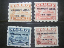 "Nauru 1935 Ships Palm Trees Sea  Overprint  "" His Majesty"" MVLH - Nauru"