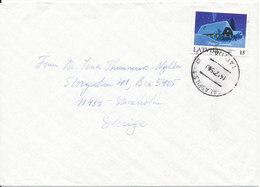 Latvia Cover Sent To Sweden 14-12-1995 Single Christmas Stamp - Latvia
