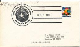 USA Cover CHRISTMAS TREE STATION DORRIS 8-12-1986 - Event Covers