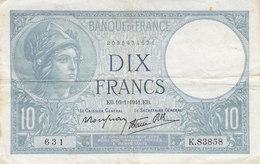 Billet 10 F Minerve Du 16-1-1941 FAY 7.28 Alph. K.83858 - 1871-1952 Circulated During XXth