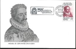 J) 1975 MEXICO, THIRD CERVANTINO FESTIVAL, MIGUEL DE CERVANTES SAAVEDRA, GUTEMBERG POSTCARD - Mexique
