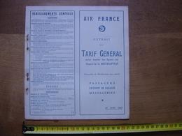1949 Dépliant Tarifs Timetable AIR FRANCE Vols Aériens AVIATION AVION - Aviation Commerciale