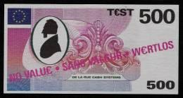 """Test Note """"DE LA RUE"""" Testnote, 500 EURO, Beids. Druck, Sample, RRR, UNC - EURO"""