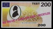 """Test Note """"DE LA RUE"""" Testnote, 200 EURO, Beids. Druck, Sample, RRR, UNC - EURO"""