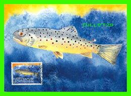 FDC - LIECHTENSTEIN 1987 -  SPECIAL STAMPS FISHES, TRUITES DE RIVIÈRE, SALMO TRUTTA FARIO - - FDC