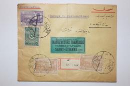Lettre Recommandée De TURQUIE -adana à  St Etienne Voyagée En 1924 - 1921-... Republic