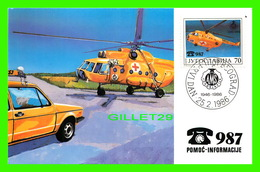 FDC - JUGOSLAVIJA, 1946-1986 - POMOC-INFORMACIJE TELEPHONE 987 - HELICOPTÈRE - GODISNJICA AUTO-MOTO SAVEZA - - Cartes-maximum