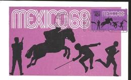 J) 1968 MEXICO, FOURTH PRE-PHYLIC POSTAL SET, PENTATHLON, GUTEMBERG POSTCARD - Mexico