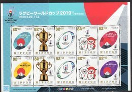 JAPAN, 2018, MNH, RUGBY, RUGBY WORLD CUP JAPAN 2019, MOUNTAINS, SHEETLET - Rugby
