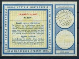 ISLANDE / ICELAND Type XIX  Kr. 12.00 International Reply Coupon Reponse Antwortschein IAS IRC  O REYKJAVIK 26.06.71 - Entiers Postaux