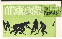 J) 1968 MEXICO, FOURTH PRE-PHYLIC POSTAL SET, HOCKEY, GUTEMBERG POSTCARD - Mexique