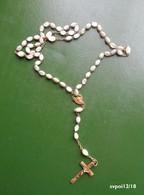 Chapelet 59 Perles  Blanches, Allongées En Verre - Religion & Esotérisme