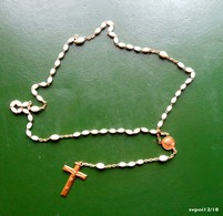 Chapelet 59 Perles  Blanches Allongées - Religion & Esotericism