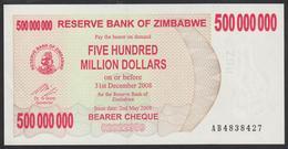 Zimbabwe 500000000 Dollar 2008 P60 UNC - Zimbabwe