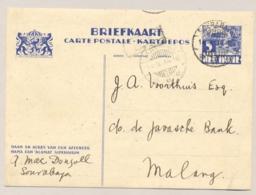 Nederlands Indië - 1934 - 5 Cent Karbouwen, Briefkaart G56 Van Soerabaja Naar LB MALANG/7 - Indes Néerlandaises