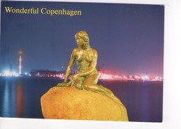 U4251 Postcard WONDERFUL COPENHAGEN, THE LITTLE MERMAID AT MIDNIGHT + NICE STAMP - Danimarca