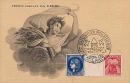 H241 - PHILATELIE - CERES Portant La Guerre - Exposition Philatélique Avril 1946 à Colombes - Timbres (représentations)