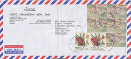 Malaysia Selangor Air Mail Cover Sent To Denmark 13-2-1987 Topic Stamps (bended Cover) - Malaysia (1964-...)
