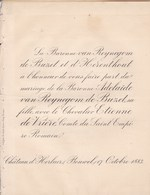 Château D'GERLAER BOUWEL 1883 Mariage Etienne De VRIERE Et Adelaïde Van REYNEGOM De BUZET Les 2 F-p échangés - Mariage